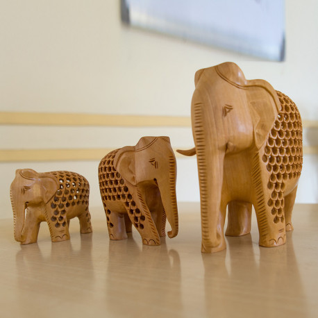 Handcrafted  Wooden Elephant Family Set