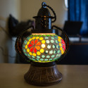 Multicolour Glass Mosaic & Wrought Iron Lamp for Diwali & Home Decor