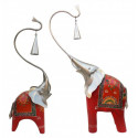 Handcrafted and Hand painted wooden elephant with metal bells and up trunk