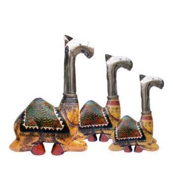 Hand Painted Camel of Wood & Metal - Set of Three