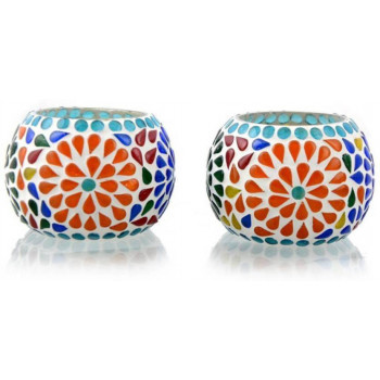 Mosaic Glass tea light  Holder Set (Multicolor, Pack of 2)