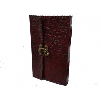 Handmade paper travel diary with classic leather cover