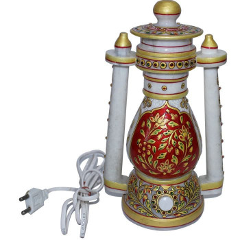 Rajasthani Marble Lantern Table Lamp with meenakri work
