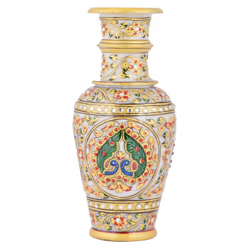 Hand painted gold leaf and Floral Design Peacock Marble vase